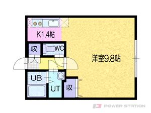 平岸1Kマンション図面