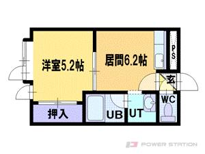 南平岸1DKアパート図面