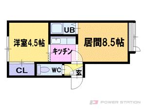 札幌市豊平区中の島2条12丁目0賃貸アパート間取図面