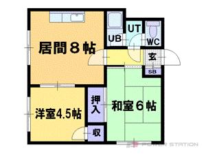 札幌市豊平区平岸6条9丁目0賃貸マンション間取図面