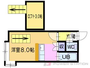 福住1Kアパート図面