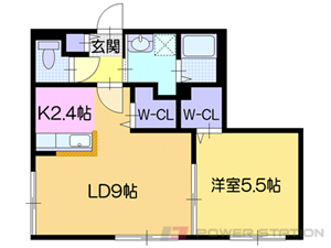 豊平公園1LDKマンション図面