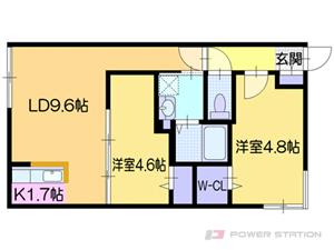 カサトレス美園:1号室タイプ【2LDK】