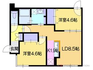 カサトレス美園:2号室タイプ【2LDK】