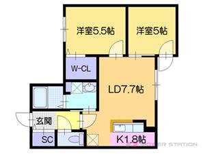 カサトレス美園:3号室タイプ【2LDK】