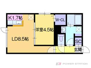 カサトレス美園:5号室タイプ【1LDK】