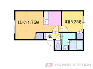 恵み野1LDKアパート図面