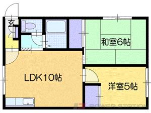 恵み野2DKアパート図面