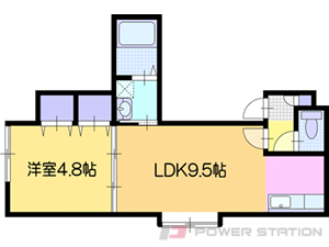 岩見沢1LDKアパート図面