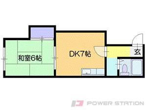 恵み野1DKアパート図面