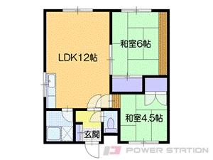 恵庭2LDKアパート図面