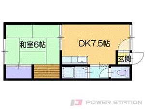 恵庭1DKアパート図面