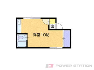 恵庭1LDKアパート図面