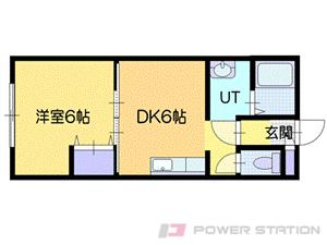 岩見沢1DKアパート図面