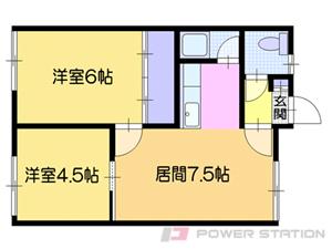 岩見沢2DKアパート図面