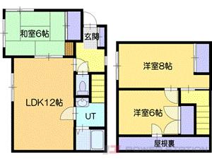 岩見沢市2条東6丁目1一戸建貸家間取図面