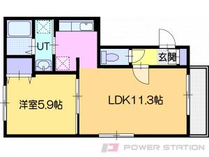 岩見沢市大和1条5丁目11賃貸アパート間取図面