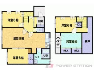 札幌市清田区平岡8条1丁目1一戸建貸家間取図面