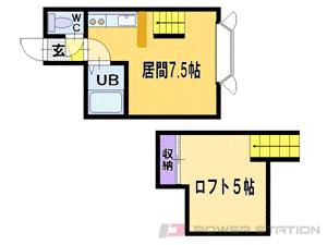 南郷18丁目1DKアパート図面