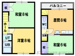 札幌市清田区北野5条1丁目0テラスハウス間取図面