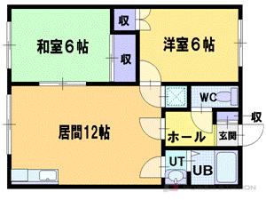 札幌市清田区北野5条2丁目0賃貸アパート間取図面
