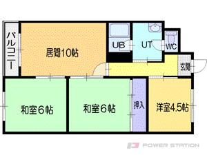 札幌市清田区北野5条2丁目0賃貸マンション間取図面