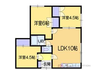札幌市清田区北野5条3丁目0賃貸アパート間取図面