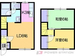 札幌市清田区北野7条3丁目0テラスハウス間取図面