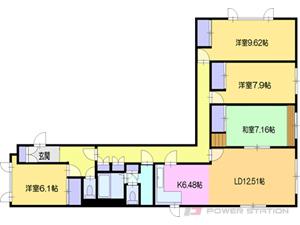 札幌市清田区北野7条4丁目0賃貸マンション間取図面