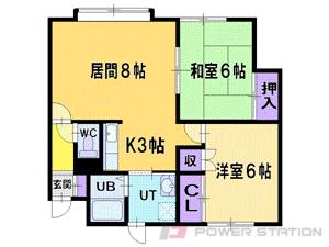 札幌市清田区北野4条2丁目0賃貸アパート間取図面