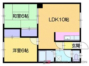 札幌市清田区北野3条2丁目1賃貸アパート間取図面