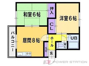 札幌市清田区北野3条2丁目0賃貸マンション間取図面