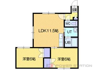 札幌市清田区北野4条3丁目0賃貸アパート間取図面