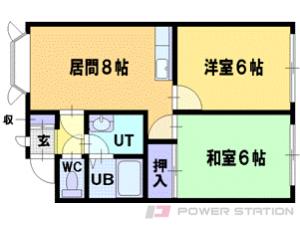 札幌市清田区北野5条4丁目1賃貸アパート間取図面
