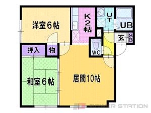 札幌市清田区北野5条4丁目0賃貸アパート間取図面