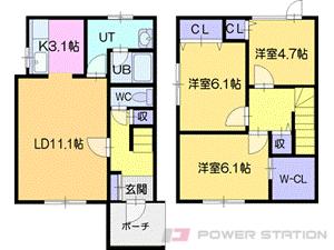 札幌市清田区北野6条4丁目1テラスハウス間取図面