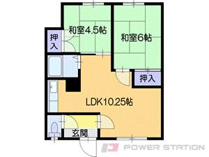 札幌市清田区北野5条5丁目0賃貸アパート間取図面