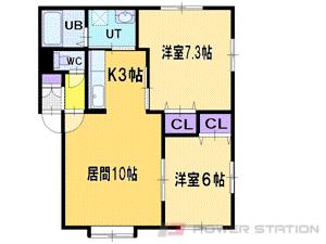 札幌市清田区北野7条5丁目0賃貸アパート間取図面