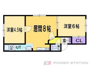 札幌市清田区北野2条1丁目1賃貸アパート間取図面