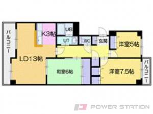 札幌市清田区北野2条2丁目0分譲リースマンション間取図面