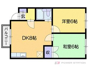 南郷18丁目2DKアパート図面