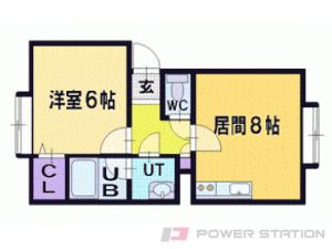 札幌市清田区北野2条3丁目0賃貸アパート間取図面