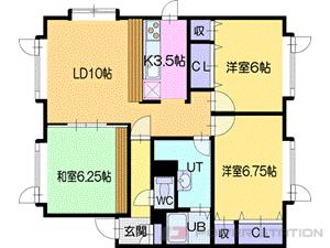 札幌市清田区北野3条3丁目0賃貸アパート間取図面