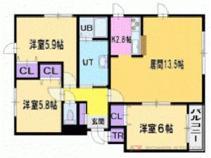 札幌市清田区平岡7条1丁目0賃貸マンション間取図面