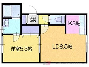 札幌市清田区平岡6条2丁目0賃貸アパート間取図面