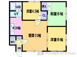 札幌市清田区平岡8条3丁目0賃貸アパート間取図面