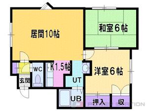 札幌市清田区北野1条2丁目0賃貸アパート間取図面