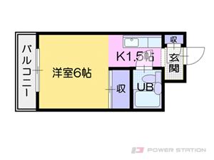 福住1Kマンション図面