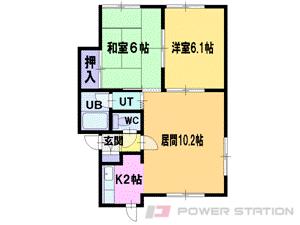 札幌市清田区北野2条3丁目1賃貸アパート間取図面