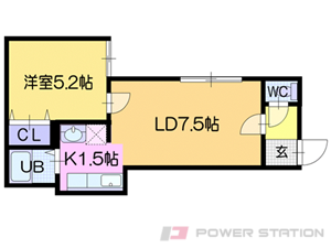 札幌市清田区平岡3条1丁目1賃貸アパート間取図面